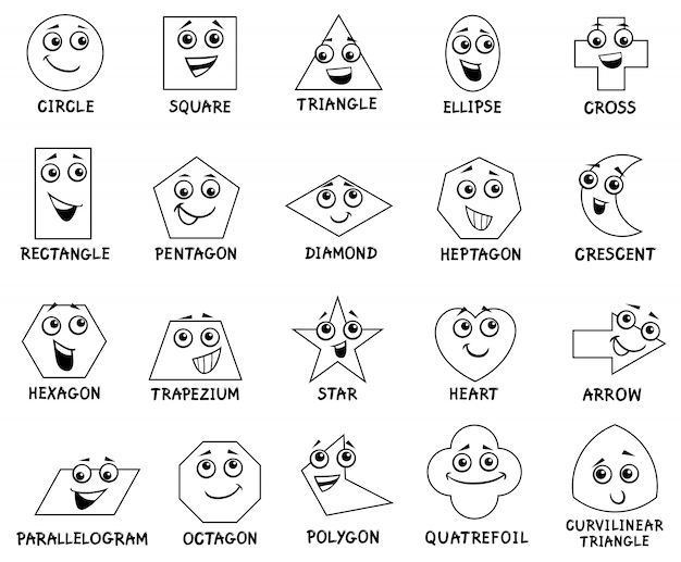 Cartoon grundlegende geometrische formen zeichen