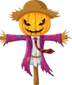 Cartoon gruselige halloween-kürbis-vogelscheuche