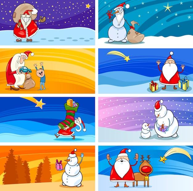 Cartoon-grußkarten mit santa claus