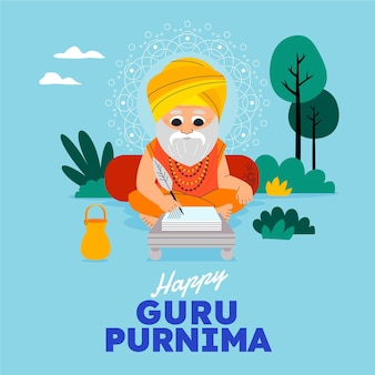 Cartoon guru purnima illustration