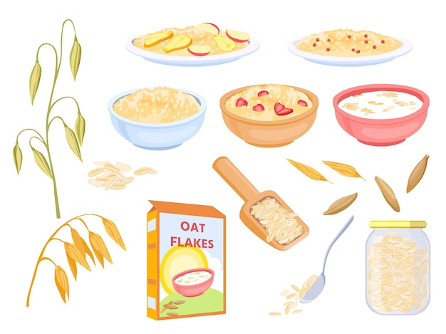 Cartoon-haferflocken-frühstückszerealien, süße flocken und körner. haferpflanze und samen. brei mit früchten in schüssel. gesundes müsli-lebensmittel-vektor-set. illustration von frühstücks-haferflocken, gesundem brei-mahlzeit
