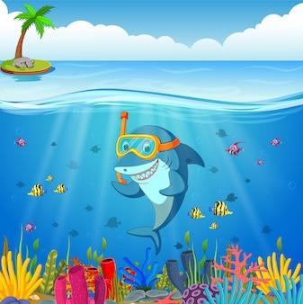 Cartoon hai unter dem meer