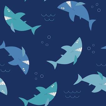 Cartoon haie nahtloses muster mit lustigen haien auf blauem hintergrund
