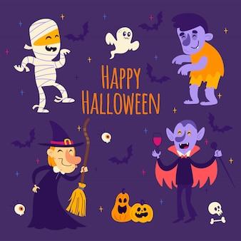 Cartoon-halloween-aufkleber: mama, hexe, vampir, geist, kürbis, schläger, zombie