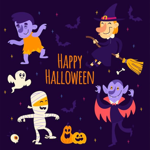 Cartoon halloween aufkleber