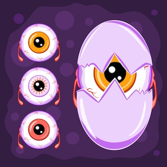 Cartoon-halloween-charaktere, augapfel-monster-sammlung, vektor-illustration.
