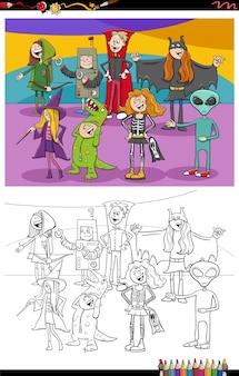 Cartoon halloween charaktere gruppe malbuch seite