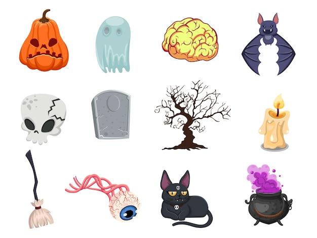Cartoon halloween icon set vektor. kürbis, geist, gehirn, fledermaus, schädel, grabstein, baum, kerze, besen, augapfel, katze, hexenkessel. vektor-illustration
