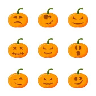 Cartoon halloween kürbis festgelegt. emotion gesetzt.