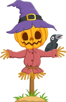 Cartoon halloween kürbis vogelscheuche mit krähe