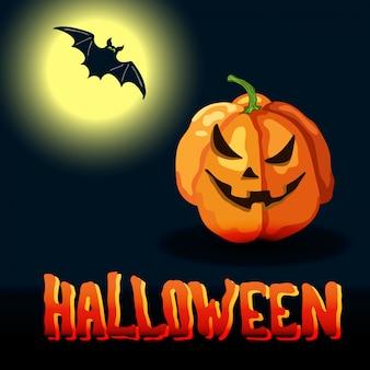 Cartoon halloween-titel, vollmond und gruseliges gesicht kürbis