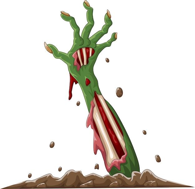 Cartoon halloween zombie hand aus dem boden
