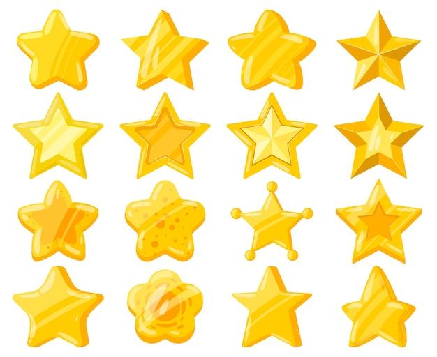 Cartoon-handy-web-spiel ui goldene sterne. lässige spielschnittstelle glänzende sterne, gelb-goldene sterntrophäen-vektorillustrationssatz. belohnung für mobile spiele-erfolge