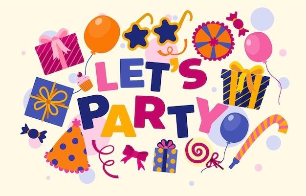Cartoon happy birthday party hintergrund und kulisse. designvorlage aus bunten ballons, flagge, geschenkbox und konfetti-shooter für poster, einladungs-cartoon-illustration