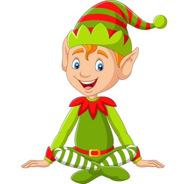 Cartoon happy christmas elf sitzen