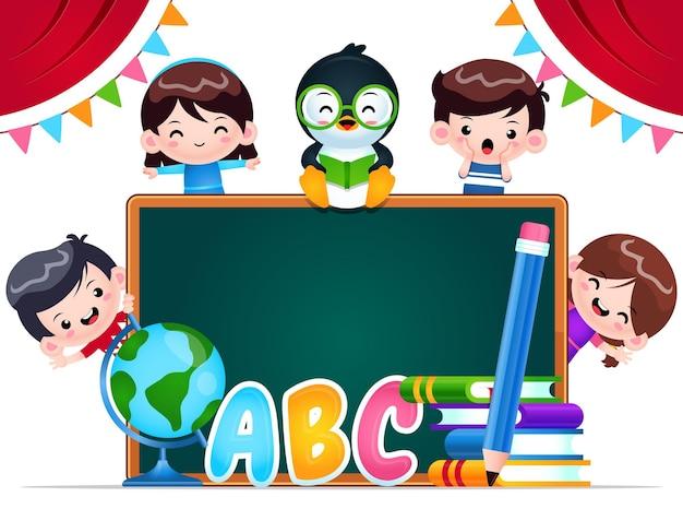 Cartoon happy kids und pinguin bildung