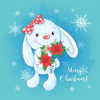 Cartoon hase und ein strauß weihnachtsstern.