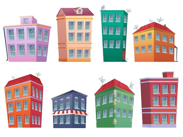 Cartoon haus set. 8 moderne häuser cartoon-fassaden