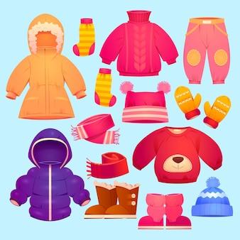Cartoon herbst und winter kinderbekleidungskollektion