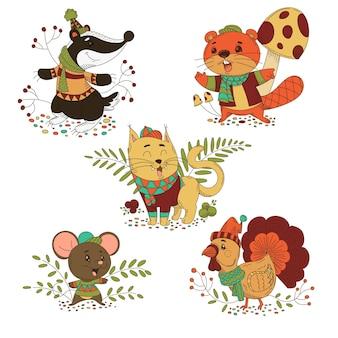 Cartoon-herbsttierkollektion