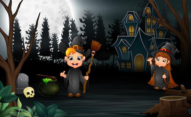 Cartoon hexe feier von halloween