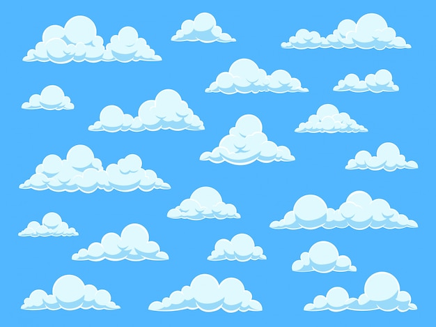 Cartoon himmel wolken. wolkenlandschaft im blauen himmelpanorama, verschiedene formen der weißen wolken, eingestellt für niedliche babytapete
