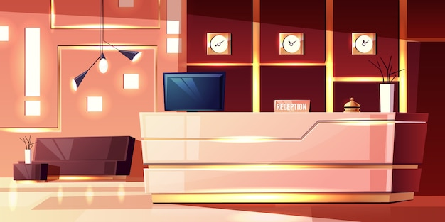 Cartoon hintergrund der hotelrezeption, gemütliches foyer. moderner schreibtisch, beleuchtung der leeren halle.