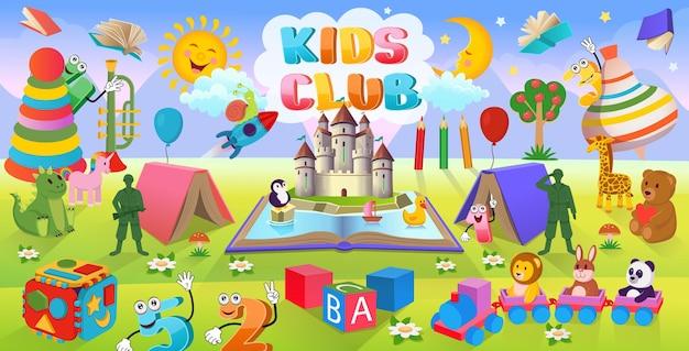 Cartoon-hintergrund mit vielen spielzeugen für kinder
