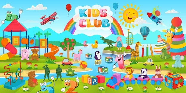 Cartoon-hintergrund mit vielen spielzeugen und spielplatz für kinder