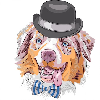 Cartoon hipster hund australian shepherd