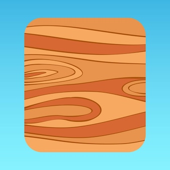 Cartoon holzmuster mobile app ui popup-panel braunes baummuster quadratischer premium-vektor