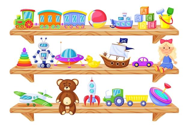 Cartoon holzregal mit kinderspielzeug babypuppe zugroboter teddybär rakete set