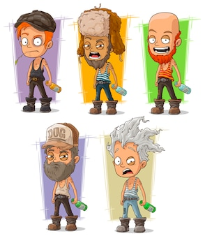 Cartoon hooligan und alkoholisches set