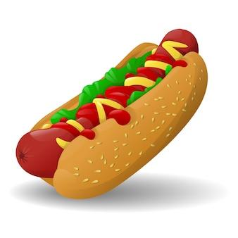Cartoon hotdog fast food