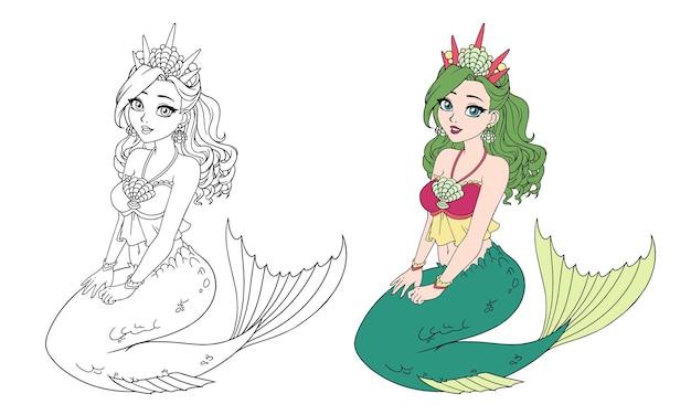 Cartoon hübsche meerjungfrau mit lockigen grünen haaren und fischschwanz. sitzende haltung. große muschelkrone. getrennt auf weiß. vektorillustration für malbuch, kinderspiel, grußkarte, aufkleber, hemd.