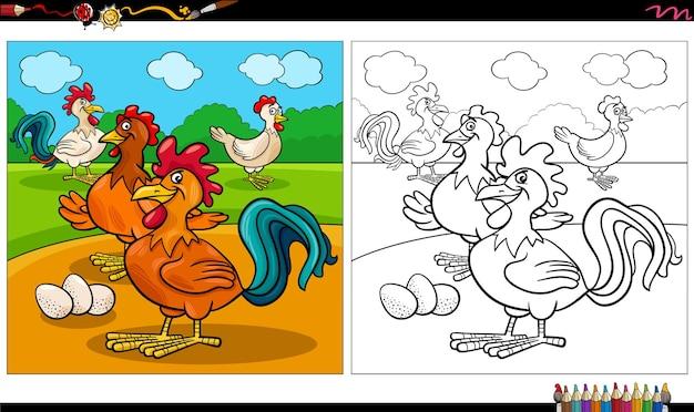 Cartoon hühner tierfiguren gruppe malbuch seite