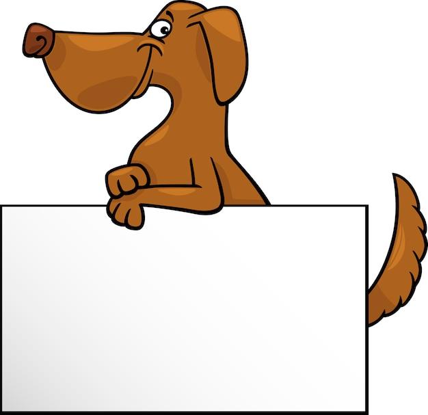 Cartoon hund mit board oder kartendesign