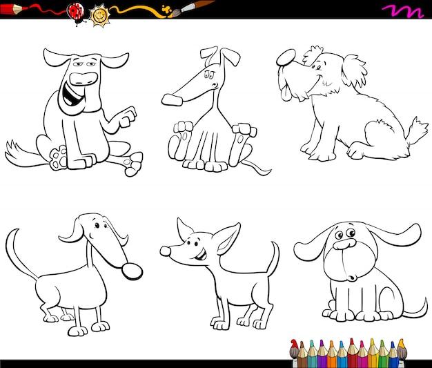 Cartoon hund oder welpen zeichen farbbuch