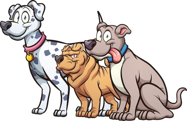 Cartoon hund verschiedener rassen und größen.