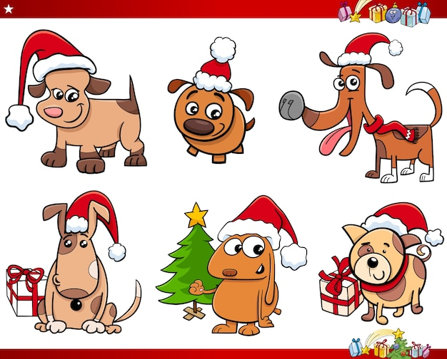 Cartoon hund zeichen auf weihnachts-set