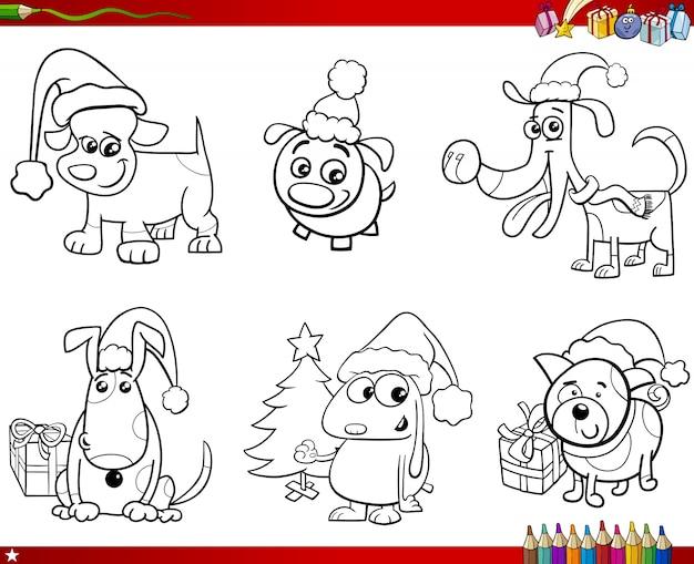 Cartoon hunde auf weihnachten set malbuch