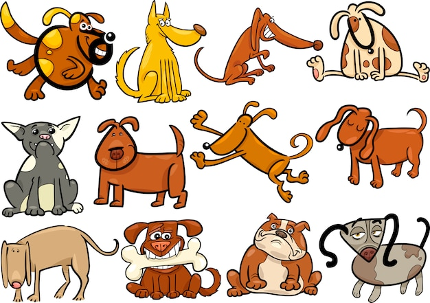 Cartoon hunde oder welpen großen satz