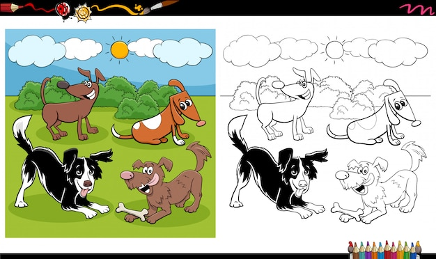 Cartoon hunde und welpen gruppe malbuch seite