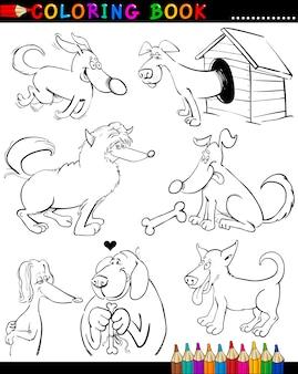 Cartoon hunde zum ausmalen buch oder seite