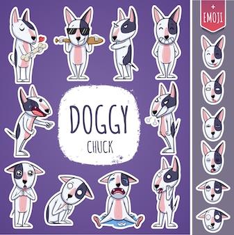 Cartoon hundecharakter. emoticon aufkleber mit verschiedenen emotionen. vektor-illustration.