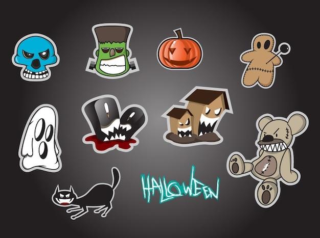Cartoon icons für halloween