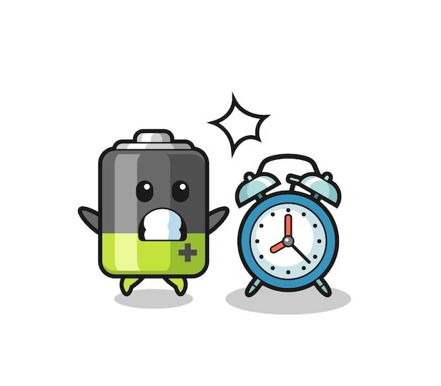 Cartoon illustration der batterie ist überrascht mit einem riesigen wecker, süßem design für t-shirt, aufkleber, logo-element