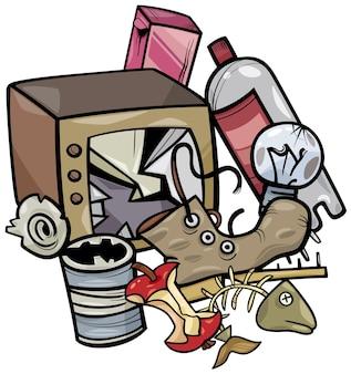 Cartoon-illustration der clip-art-gruppe von müllobjekten