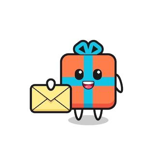 Cartoon-illustration der geschenkbox mit einem gelben buchstaben, süßem design für t-shirt, aufkleber, logo-element