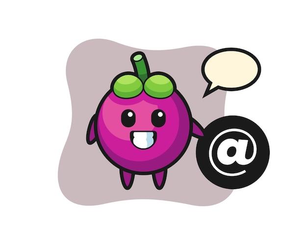 Cartoon-illustration der mangostanfrucht, die neben dem at-symbol steht, niedliches stildesign für t-shirt, aufkleber, logo-element
